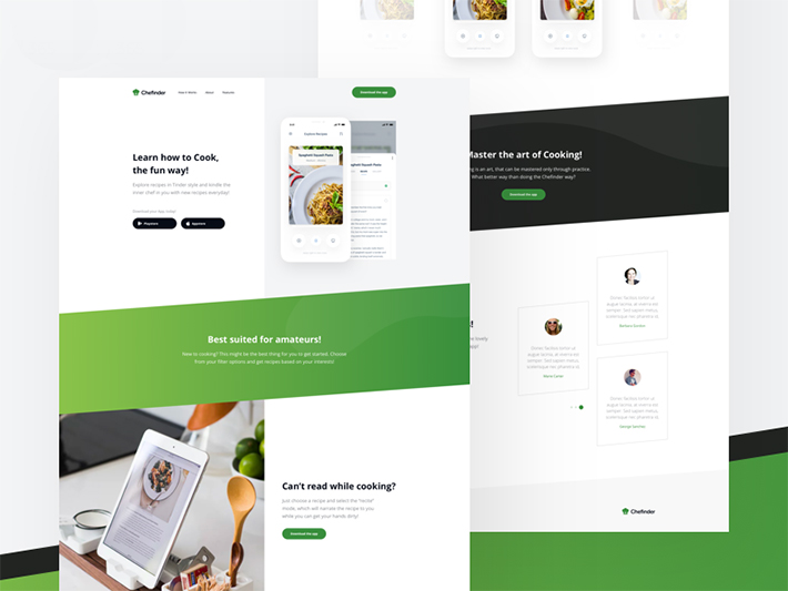 jquery landing page templates - elegant recipes app landing page psd template free